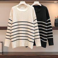 Плюс размер футболки NKAndby вязаные свитера женские 2021 осень зима полосатые свободные теплые пуловерные перемычки негабаритные круглые точки шеи