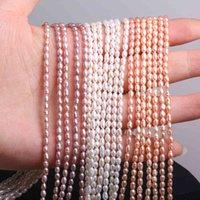 Naturliga sötvattenspärlor risform mångfärgad löst pärlor för DIY halsband armband smycken gör kvinnor gåva storlek 2-3mm
