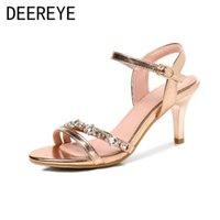 Sandals 6CM Rhinestone Women Short High Heel Special Material Ladies Shoes And Hollow Ankle Strap For Summer Sweet Wedding