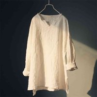 Johnature Kadınlar Pamuk Keten T-Shirt Kısa Sonbahar Uzun Kollu Yüksek Kalite Kalın Sıcak Sıcak Casual Vintage T-Shirt Tops Kadın 210401