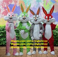 Easter Bugs Bunny Mascot Costume Looney Tunes Hare Lepus Jackrabbit Rabbit With Big Mouth Mascotte Adult No.199