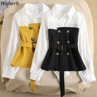 Wohereb falso due pezzi manica lunga manica patchwork blouse pulsante design cintura elegante camicie femminili asimmetriche moda tops donne 91700 201201