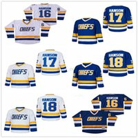 أعلى جودة NHL رؤساء هانسون فيلم الهوكي الفانيلة 16 جاك هانسون 18 جيف هانسون 17 ستيف الفانيلة الأبيض الأزرق التطريز الخياطة جيرسي الرجعية الجملة والتجزئة