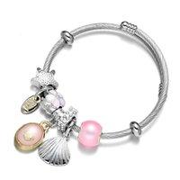 Autres bracelets Ocean Shell Verre Titanium Acier Bracelet Constellation Réglable Fil Cheveux