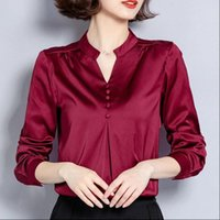 Fashion Women Shirts Autumn Silk Elegant Satin Blouse Shirt ...