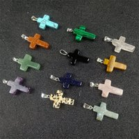 Statement Necklace Jewelry Cheap Healing Crystals Rope Leather Necklaces Drop Round Flower Cross Apple Natural Stone Pendants Necklace 4 N2