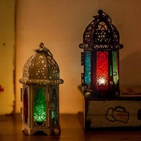 Candle Holders Moroccan Style Holder Votive Hanging Home Lantern Iron Candlestick Glass Decoration Stained T3L3