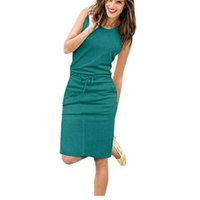 JOCOO JOLEE Kadınlar Nedensel Kolsuz Cepler Kalem Elbise 2020 Yaz Katı İpli Bel Plaj Parti Sundress Y0628