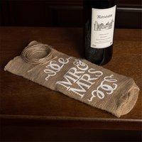 Yeni MR MRS JUTE Şarap Şişesi Kapağı Hediye Çantası Rustik Düğün Dekorasyon Yıldönümü Parti Dekorasyon Şarap CCF7015