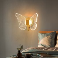 Modern Creative Butterfly Led Wall Lamps Bedroom Bedside Lamp Balcony Aisle Nordic Background Decor Luxury Acrylic Wall Lights