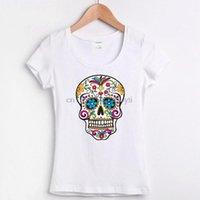Männer T-Shirts Online Kaufen T-Shirt 2021 Zucker-Schädel-Rosen-Augen-Tag der toten mexikanischen gotischen Los Muertoss T-Onlines und gestreift