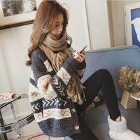 Autunno inverno moda maglione casual pigro vento caldo sciolto sciolto singolo petto con scollo a V manica maglia cardigan esterno camicia maglione1