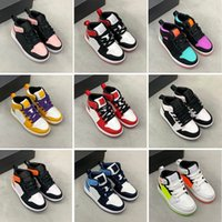 Chaussures de basketball pour enfants 1S 1 Toddler Pin Green jeu Royal Scotts Obsidian Chicago Breed Sneakers Multi-Color Type Taille 25-35