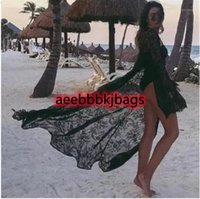 Открытые подсказки летние сексуальные женщины кружева BOHO бикини накрытие кимоно кардиган блузка длинный солнцезащитный крем черный белый полый пляжная одежда1