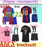 Barcelona Soccer Jersey Kids Kit Barca 21 22 Messi Grezmann CamiSeta Futbol Ansu Fati 202 FDE Jong There Willion Maillots de Футбольные комплекты