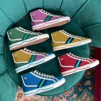 Casais clássicos 2021 High-top Luxurys Designers Canvas Sapatos Casuais Mulheres Homens Top Quality Mens Sneakers Locais Lace Up Moda Desgin Shoe Womens com Caixa Tamanho 35-46