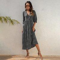 Party Dresses Summer Women Elegant Long Dress Leopard Print V-neck Lantern Sleeve Temperament Streetwear Beach