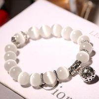 Natural Opal Beads Bracelets Crystal Fashion Women Bracelet Vintage Stainless Steel Braceletes For Charm