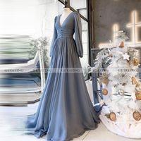 Saudi Arabia Blue V-Neck Muslim Evening Dress Long Sleeves Dubai Formal Dresses 2021 Elegant Women Wedding Party Gowns Plus Size