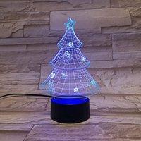 룸 3D 야간 가벼운 플러그 아크릴 야간 조명 LED 크리스마스 트리 테이블 램프 아이 선물 귀여운 침실 장식 블루투스 스피커 dropship