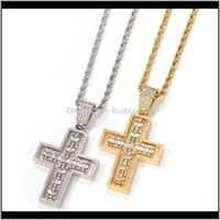 Necklaces & Pendants Jewelry Hip-Hop Rotatable Double-Sided Cross Necklace Creative Fashion Men And Women Copper Inlaid Zircon Pendant Aessor