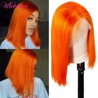 Lace Wigs Colored Orange Bob Wig 13x4 Front Brazilian Remy Human Hair Frontal Glueness Pre Plucked With Baby