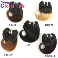 Burgundy Colored Human Hair Raw Virgin Indian Body Wave Extensions 3 4 5 Bundles Deals Two Tone 1B 99J Wavy Short Ombre Weave 55g pcs