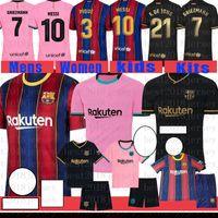 축구 유니폼 바르셀로나 축구 셔츠 # 10 메시 마일 로트 드 발 # 8 A. IniiSta 남자의 # 17 Griezmann Kids Kits # 21 F. De Jong 31 Ansu Fati