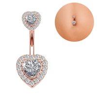 S2437 Body Jewelry Single Piece Stainless Steel Navel Belly Button Ring Diamond Zircon Double Heart Rose Gold Sexy Women Girl Pierce