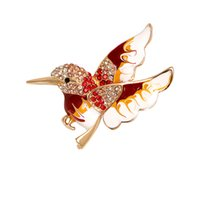Fashion Delicate Paint Hummingbird With Diamonds Brooches Crystal Pin Brooch Pendant Jewelry Accessories Gift