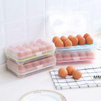 البلاستيك البيض تخزين مربع منظم الثلاجة تخزين 15 البيض المنظمون صناديق في الهواء الطلق الحاويات المحمولة HWB7254