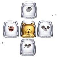 Cute Christmas Tree Mug Double Wall Glass Coffee Cups with Silocone Lid Snowflake Star Xmas Gift Wine Tea Milk Water Tumbler NHB7526
