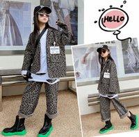 Moda Big Kids Leopard Grain Ropa Sets Girls Sapa de manga larga Blazers Outwear + Pantalones de piernas anchas 2 unids Otoño Trajes para niños Q1682
