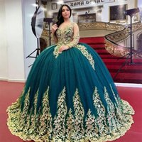 Sparkly Ball Gown Quinceanera Dresses 2022 Long Sleeve Lace Applique Crystal Prom Gowns Lace-up Corset Sweet 15 Party Dress