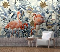Wallpapers CJSIR Custom Wallpaper Murals European-style Hand-painted Tropical Plants Flamingo Background Wall Painting 3d Decor