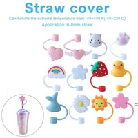Creative Silicone Straw Tips Cover Reusable Drinking Dust Cap Splash Proof Plugs Lids Anti-dust Tip Sunflower Cherry Blossom DHD10475