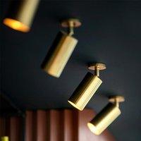 Tavan Işıkları Nordic Altın Yüzey Monte Spot Işıkları Oturma Odası Bar Restoran LED Yaratıcı Üç Kafa Parça Spot Işığı