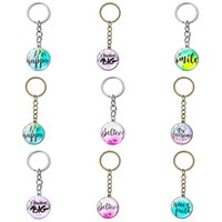 High Quality Inspirational Letters Quote Key Chain Hand Craft Multicolor Art Pattern Glass Round Pendant Key Ring Holder