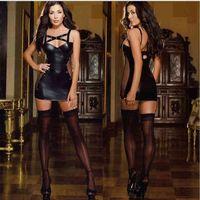 Mujeres Sexy Lingerie Latex PU Cuero Bodycon Vestidos Vendaje Patchwork Low Bosom Disfraz Erotic Fitness Body Tamaño Plus