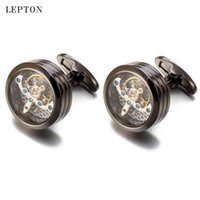 Mouvement de haute qualité Tourbillon pour Mens Mariage Groom Mécanique Montre Steampunk Cufflinks Relojes Gemelos