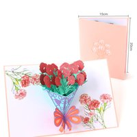 Mothers Day Greeting Cards Postcard 3D POP UP Flower Thank You MOM Happy Birthday Invitation Customized Gifts Wedding Paper GWA5458