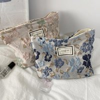 Storage Bags Women's Cosmetic Bag Fashion Relief Flowers Small Cloth Travel