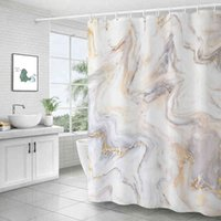 Sanat Mermer Baskı Duş Perdesi Su Geçirmez Mildewproof Banyo Modern Koyu Tuvalet Bölüm Perdeleri Kanca ile
