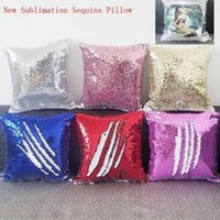 sublimation magic sequins blank pillow cases transfer printing DIY personalized customized gifts wholesales 6colours 40*40CM