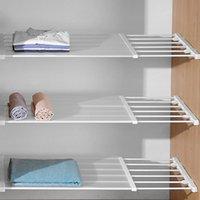 Hooks & Rails Adjustable Closet Organizer Storage Shelf Wall Mounted Kitchen Rack Space Saving Wardrobe Decorative Shelves Cabinet Holders