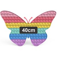40cm Pop Fidget Toys Huge Large Popit Rainbow Giant Biggest Jumbo Push Bubbles Stress Reliever Squeeze Sensory Toy for Kids Teen Adults, Big Butterfly