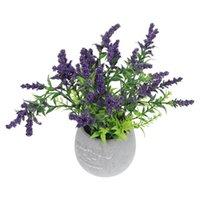 Декоративные цветы венки 1 шт. Искусственное растение Яркие лаванды Бонсай творческий в горшке (фиолетовый)