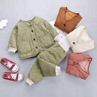 Rahat Çocuklar Kış Pamuk Takım Elbise 1-5 T Bebek Erkek Kız Tasarımcı Kalınlaşma Sıcak Pamuk Giyim 4 Renkler Çocuk Set 680 Y2
