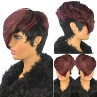 Colored 1B 99J Pixie Cut Human Hair Wig With Bangs For Black Women Burgundy Ombre Short Brazilian Virgin Straight Glueless Natural Fringe Wigs