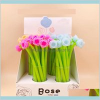 Gel Pens Writing Supplies Office & School Business Industrial 72Pcs Pack Creative Rose Flower Full Silicone Pen Candy Color Sign Girls